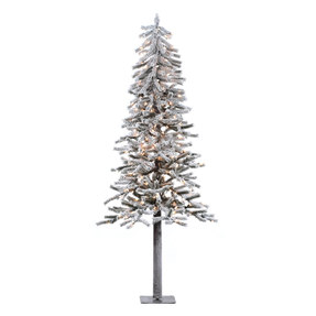 7' Flocked Alpine Tree w/Clear Lights