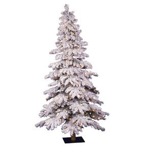 4' Flocked Austrian Alpine Spruce w/Clear Lights
