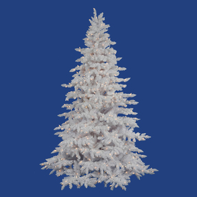 9' Flocked White Spruce Full Warm White LED Lights