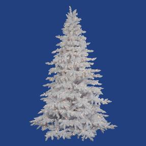 14' Flocked White Spruce Full Warm White LED