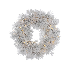 Flocked Siberian Pine Wreath LED 36""