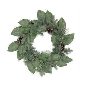 Frosted Magnolia Wreath 24""