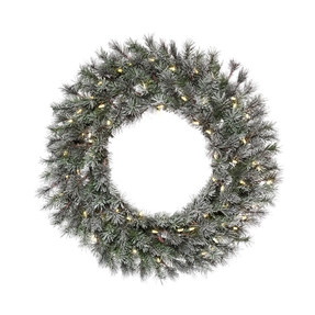 Frosted White Pine Wreath LED 36""