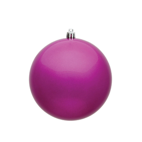 "Fuchsia Ball Ornaments 4.75"" Candy Finish Set of 4"