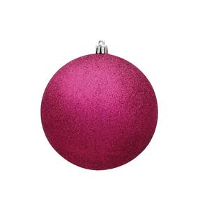 """Fuchsia Ball Ornaments 10"""" Glitter Set of 2"""