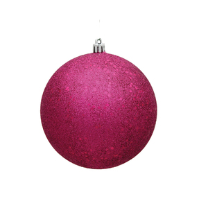 "Fuchsia Ball Ornaments 4"" Sequin Set of 6"