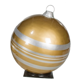 """Giant Outdoor Ball Ornament 33.5"""" Striped Gold/Silver"""