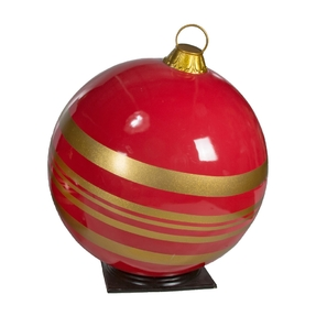"""Giant Outdoor Ball Ornament 49"""" Striped Red/Gold"""