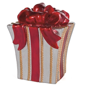 "Christmas Gift Box 14"" Silver/Red/Gold"