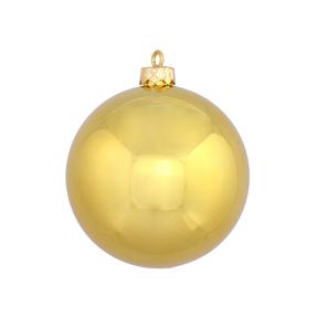 "Gold Ball Ornaments 5"" Shiny Set of 4"