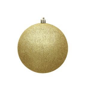 "Gold Ball Ornaments 4"" Glitter Set of 6"