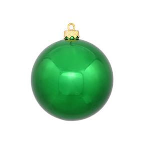 "Green Ball Ornaments 6"" Shiny Set of 4"