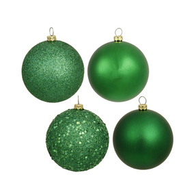 "Green Ball Ornaments 6"" Assorted Finish Set of 4"