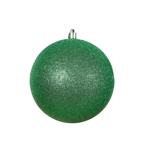 "Green Ball Ornaments 4"" Glitter Set of 6"