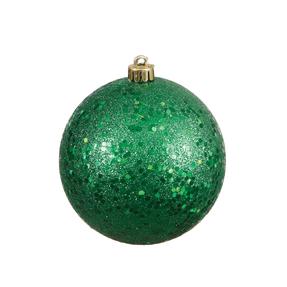 """Green Ball Ornaments 4"""" Sequin Set of 6"""