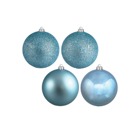 """Ice Blue Ball Ornaments 6"""" Assorted Finish Set of 4"""