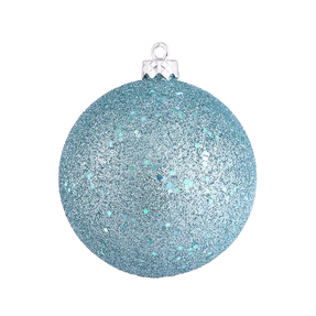 """Ice Blue Ball Ornaments 6"""" Sequin Set of 4"""