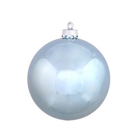"Ice Blue Ball Ornaments 6"" Shiny Set of 4"