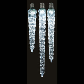 "LED Cascading Icicle Bulb 5"" Set of 2 Cool White"