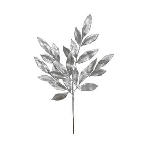 "Sparkly Bay Leaf Spray 22"" Set of 12 Silver"