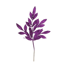 "Sparkly Bay Leaf Spray 22"" Set of 12 Purple"