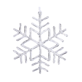 "Large Clear Snowflake Ornament 12"" Set of 2"