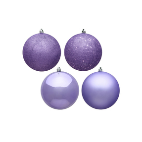 "Lavender Ball Ornaments 8"" Assorted Finish Set of 4"