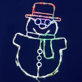 "LED Snowman Window Decor 17"" x 12"""