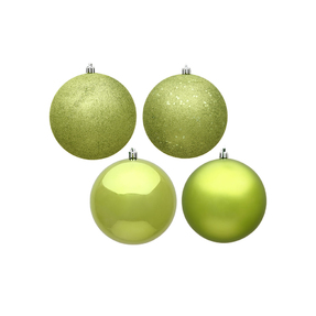 """Lime Ball Ornaments 10"""" Assorted Finish Set of 4"""