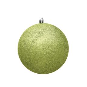 "Lime Ball Ornaments 4"" Glitter Set of 6"