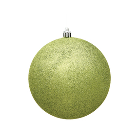 "Lime Ball Ornaments 6"" Glitter Set of 4"