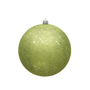 """Lime Ball Ornaments 4"""" Sequin Set of 6"""
