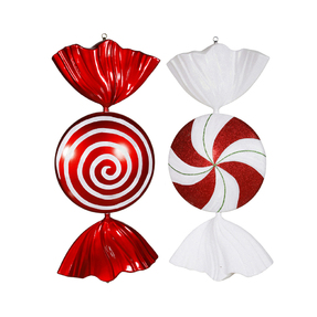 "Large Peppermint Ornament 18"" Set of 2 Asst."