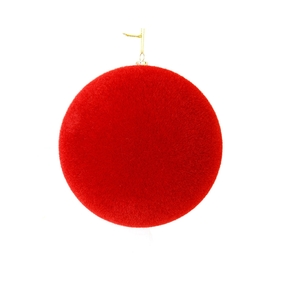 "Soft Felt Ball Ornament 6"" Set of 4 Red"