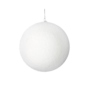 "Soft Felt Ball Ornament 4"" Set of 6 White"