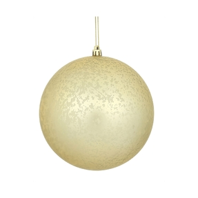 "Champagne Ball Ornaments 6"" Faux Mercury Matte Set of 4"