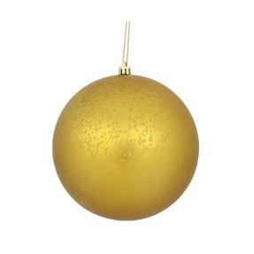 "Gold Ball Ornaments 8"" Faux Mercury Matte Set of 2"