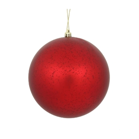 "Red Ball Ornaments 8"" Faux Mercury Matte Set of 2"