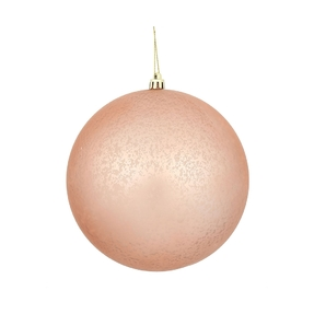 "Rose Gold Ball Ornaments 6"" Faux Mercury Matte Set of 4"
