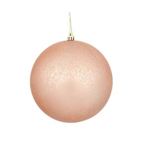 "Rose Gold Ball Ornaments 8"" Faux Mercury Matte Set of 2"