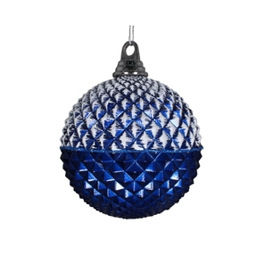 "Neve Diamond Ball Ornament 5"" Set of 3 Blue"