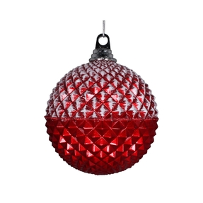 "Neve Diamond Ball Ornament 8"" Set of 2 Red"