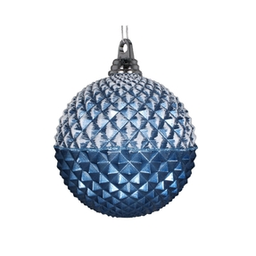 "Neve Diamond Ball Ornament 8"" Set of 2 Sea Blue"