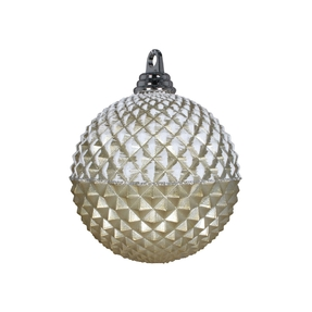 "Neve Diamond Ball Ornament 5"" Set of 3 Champagne"