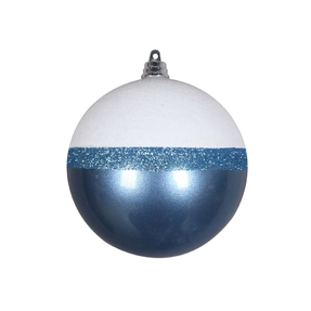 "Neve Ball Ornament 4"" Set of 6 Sea Blue"