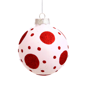 "Red Polka Dot Ball Ornament 3"" Set of 4"