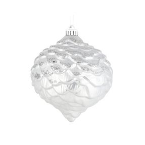 "Clara Pinecone Ornament 6"" Set of 6 White"