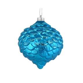 "Clara Pinecone Ornament 6"" Set of 6 Turquoise"
