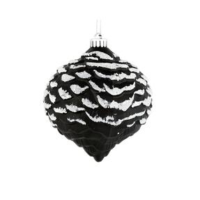"Clara Pinecone Ornament 6"" Set of 6 Black"