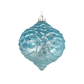 "Clara Pinecone Ornament 6"" Set of 6 Ice Blue"